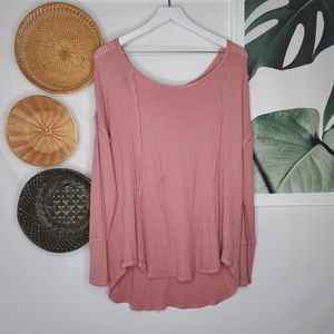 Almost Famous Rose Pink Thermal Doleman Sleeve Top